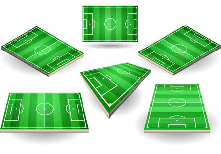 Detailed illustration of a set of Soccer fields in six different positions