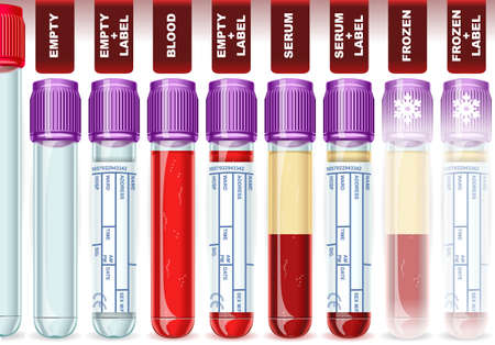 Detailed illustration of a Lavender Cap Tube with Eight Possible Uses, empty, blood, serum or plasma, frozen