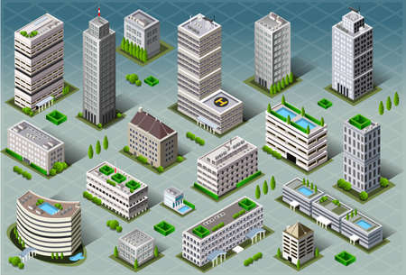Detailed illustration of a Isometric Buildings