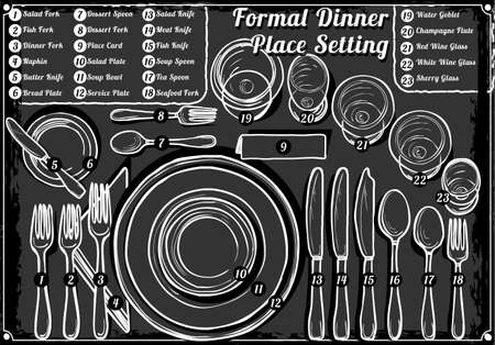 Detailed Illustration of a Vintage Hand Drawn Blackboard Place Setting Formal Dinner