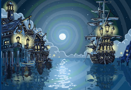 Detailed illustration of a Adventure Island - Pirates Cove Bay