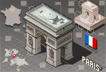 Detailed illustration of a Isometric Infographic Arc de Triomphe in Paris - HD Quality