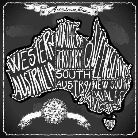 Australia Map on Vintage Handwriting BlackBoard