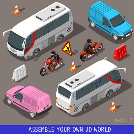 Foto de Flat 3D Isometric High Quality Vehicle Tiles Icon Collection. Touris Bus and Coach Van Pink Motorbiker. Assemble Your Own 3D World Web Infographic September - Imagen libre de derechos