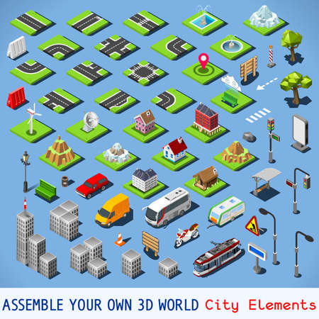 Illustration for City Map Elements COMPLETE and TESTED Set. NEW bright palette 3D Flat Vector Icon Set. Urban Fabric Road House Building Car and Truck Vehicle Isolated Vector Collection. Assemble Your Own 3D World - Royalty Free Image
