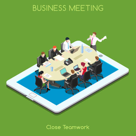Startup Teamwork Brainstorming Tablet Virtual Meeting Room. Interacting People Unique Isometric Realistic Poses. NEW bright palette 3D Flat Vector Icon Set. Staff who Work Remotely