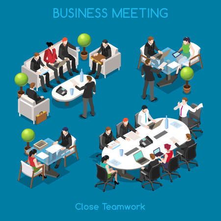 Illustration pour Startup Teamwork Brainstorming Business Office Meeting Room. Interacting People Unique Isometric Realistic Poses. NEW bright palette 3D Flat Vector Icon Set. Team around table working with laptop - image libre de droit