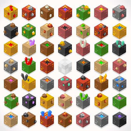 3D Flat Isometric Mine Cubes Treasure Box Gem Stone Kit Ruby Gold Sapphire Diamond Lava Puddle Elements Icon Mega Set Collection for Web App Game Builder. Build Your Own World