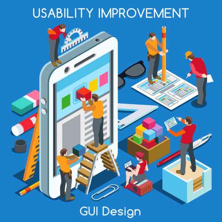Illustration pour GUI design Smartphone App UI UX Improvement. Interacting People Unique Isometric Realistic Poses. NEW bright palette 3D Flat Vector Concept. Team Creating Great Web Graphic User Interface - image libre de droit