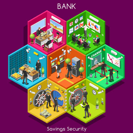 Bank Savings Financial Security Infographics. NEW Bright Palette 3D Flat Vector Icon Set. Interior Room ATM Vault Customer Client Office Staff Concept. Depository Vault Banking Credit Investments