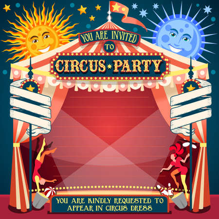 Illustration pour Tale of Tales You are Invited to The Court of Miracles. Circus Carnival Colorful Retro Vintage Template for your Happy Crazy Party - image libre de droit
