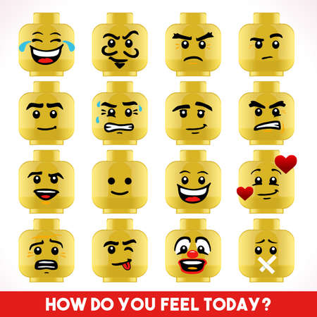 Toy Block Collection of Different Emoji Faces