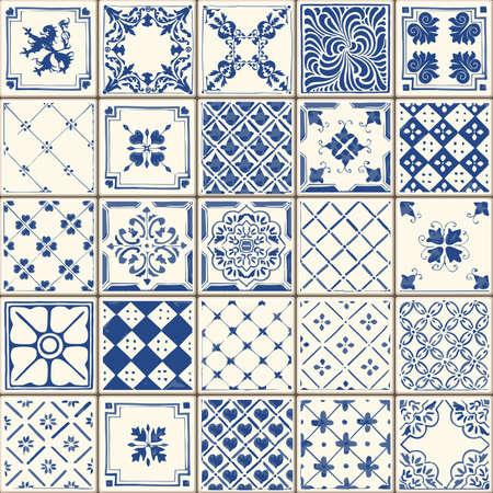 Illustration pour Indigo Blue Tiles Floor Ornament Collection - image libre de droit