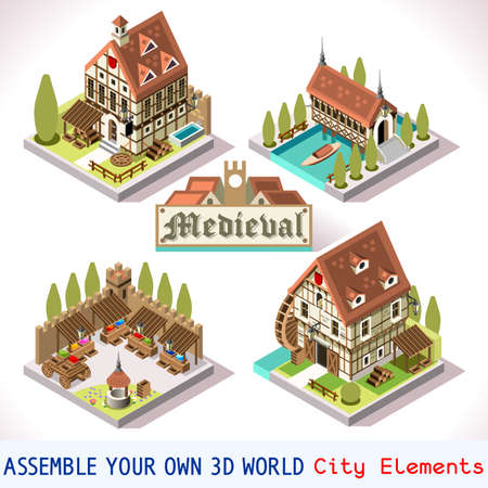 Medieval Tiles for Online Strategic Game Insight and Development. Isometric Flat Middle Age Court with 3D Buildings and Mill. Explore Game Phenomena in the Middle Ages Antique Breton Atmosphereのイラスト素材