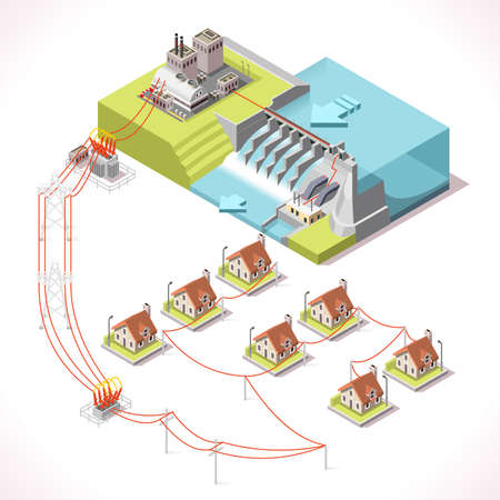 Hydroelectric Power Plant Factory Electric. Water Power Station Dam Electricity Grid and Energy Supply Chain. Isometric Energy Management Diagram 3d Vector Illustration