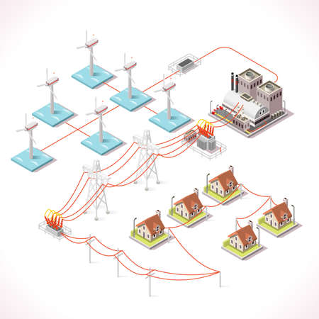 Offshore Wind Farms. Isometric Windmill Power Plant Factory Electric Power Station Electricity Grid and Energy Supply Chain. Energy Management Diagram 3d Vector Illustration