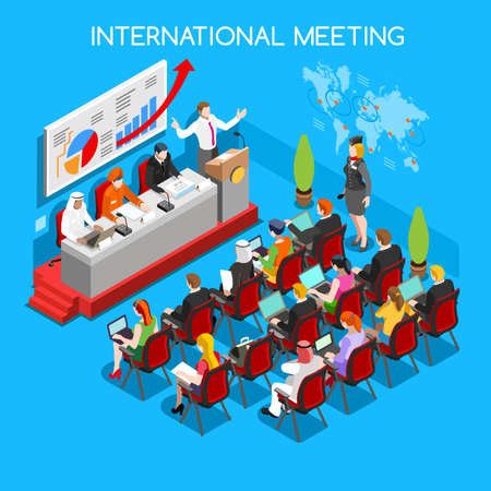 Illustration pour International Symposium Business Meeting Flat 3d Isometric Isometry Workshop Special Event Speaker Moderators and Public Worldwide Online Conference. Creative People Collection - image libre de droit