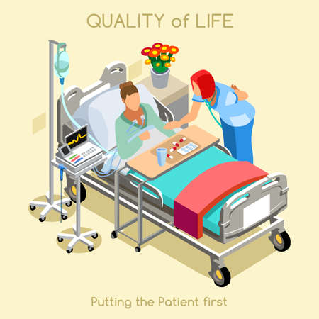Ilustración de Healthcare Quality of Life as First Aim Patient Disease Hospitalization Medical Clinic Hospital. Young Woman Patient Bed with Nurse Medical Staff. NEW bright palette 3D Flat Vector People Collection - Imagen libre de derechos