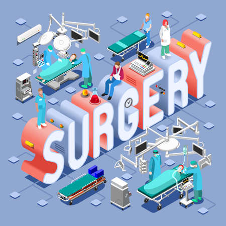 Illustration for Surgery Healthcare Concept. Clinic Hospital Departments Symbols and People NEW bright palette 3D Flat Vector Set. Patients Doctors Nurses Scrubs Staff and Support Workers - Royalty Free Image