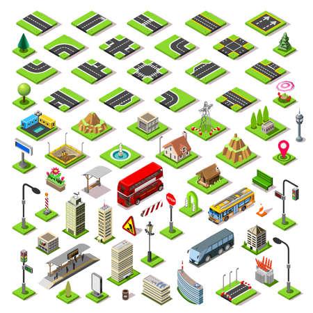 Ilustración de Flat 3d isometric buildings blocks road street game tiles icons infographic concept set. City map elements crossroad traffic light lantern skyscraper tram bus shop. Assemble your own infographics - Imagen libre de derechos