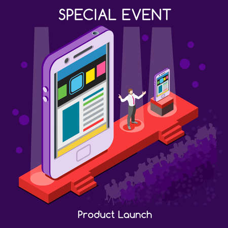 Illustration pour Special Event International Meeting New Product Launch Flat 3d Isometric Isometry CEO Speaker and Public Presenting New Device Worldwide Online Conference. Creative People Collection - image libre de droit