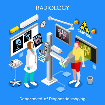 Vektor für Hospital doctor patient interior x-ray room. Xray female medical clinic diagnostics bones body checkup. Creative people collection. Flat 3d isometry isometric healthcare web bright colorful concept - Lizenzfreies Bild