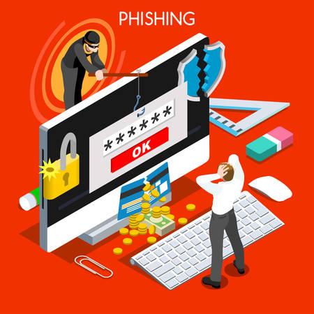 Ilustración de Hacker phishing infographic 3D flat isometric people design concept. Spam phishing attack risk threats for computer systems vector illustration - Imagen libre de derechos