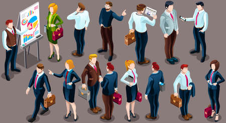 Ilustración de Trendy 3D isometric group of isolated bank business people. Employee desk staff character icon set. Interview and Analysis of sales deal agreement and partnership. Teamwork career vector illustration - Imagen libre de derechos