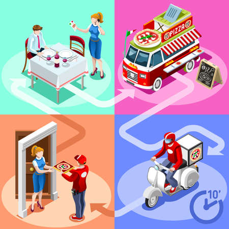 Illustration pour Pizza take away food truck and white car or van for fast home delivery vector infographic. Isometric people delivery man processing online order at the client customer door - image libre de droit