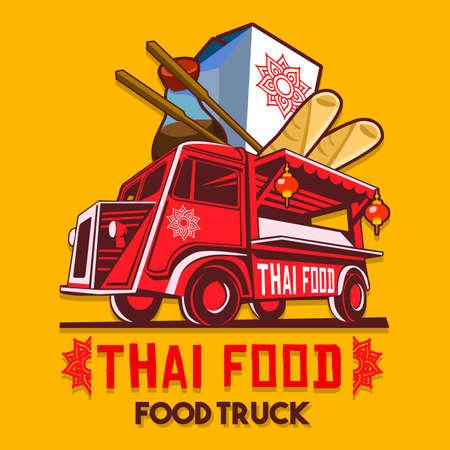 Vektor für Food truck logotype for thai food restaurant fast delivery service or food festival. Truck van with thai food advertise ads vector logo - Lizenzfreies Bild
