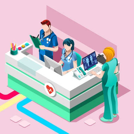 Ilustración de Clinic nurse station hospital team education training meeting situation with group of doctor and nurses talking together, Healthcare medical team flat vector isometric people illustration - Imagen libre de derechos