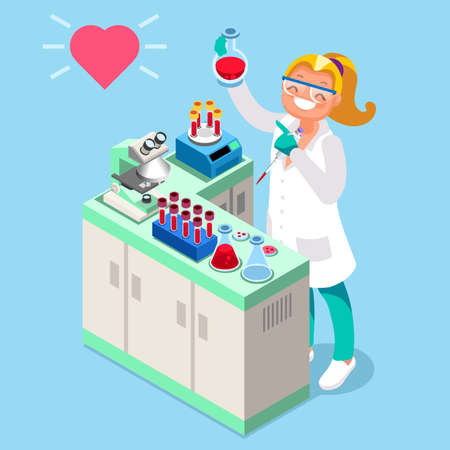 Illustration for Clinical research clinical laboratory isometric people cartoon character vector icon - Royalty Free Image