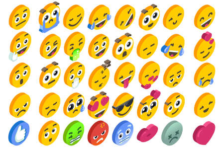 Illustration pour Emoji Set emoticon reactions.  3D flat design isometric icons hearth angry or smile face and like button. - image libre de droit