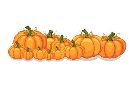 Ilustración de Halloween vector orange pumpkins graphic. Horizontal banner design template for e-commerce market, web site banners or thanksgiving day pattern. Vector pile of orange pumpkins frame border patch. - Imagen libre de derechos