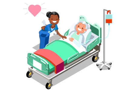 Illustration for Illustration of a caring nurse with her elderly patient. - Royalty Free Image