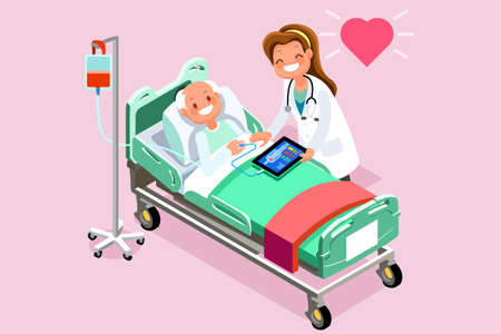 Ilustración de Elderly patient in bed and therapist. 3D flat isometric people in flat style design. Vector illustration - Imagen libre de derechos