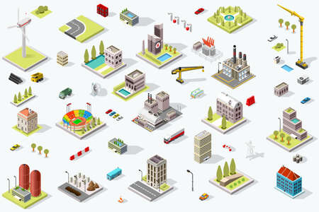 Illustration pour Set of isometric city buildings. Town district landscape with urban infrastructure streets and houses. 3D map vector illustration. - image libre de droit