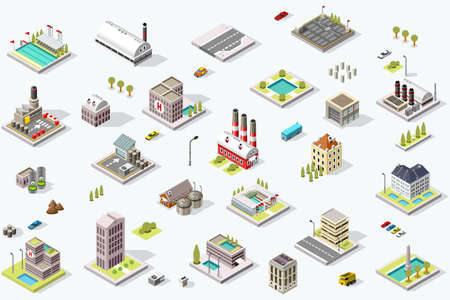 Illustration for Set of isometric city buildings. Town district landscape with urban infrastructure streets and houses. 3D map vector illustration. - Royalty Free Image
