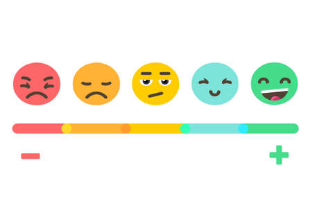 Illustration pour Feedback concept emotions scale background. Vector banner design. - image libre de droit