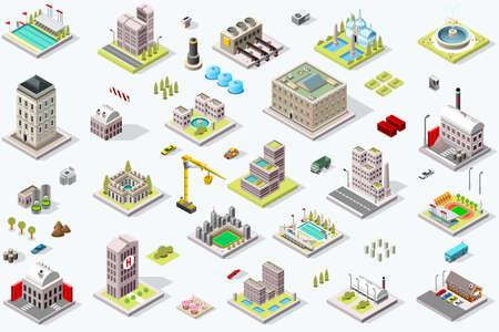 Foto de Set of isometric city buildings. Town district landscape with urban infrastructure streets and houses. 3D map vector illustration. - Imagen libre de derechos