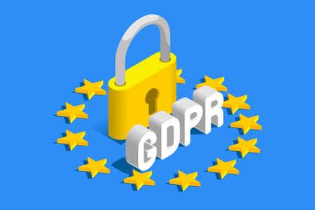 Illustration pour GDPR General Data Protection Regulation. EU flag. Vector illustration - image libre de droit