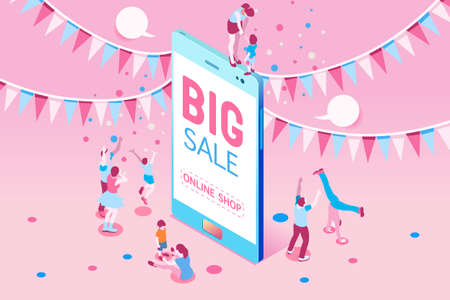 Photo pour Phone sale offer concept for poster. Big Sale on mobile phone for online marketing with four young joyful people. Vector illustration design for website banner or poster. - image libre de droit