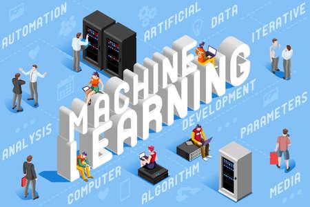 Illustration pour Machine learning illustration. New technology for robots. 3D vector design. - image libre de droit