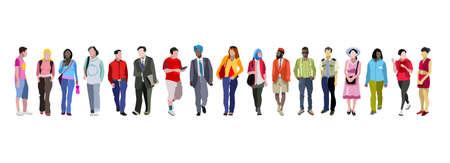 Ilustración de Multi-ethnic group of people vector illustration. - Imagen libre de derechos
