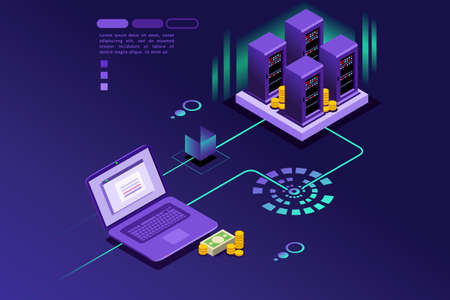 Illustration pour Transaction records of internet customer. Technology of internet payment concept. Isometric infographic vector design. - image libre de droit