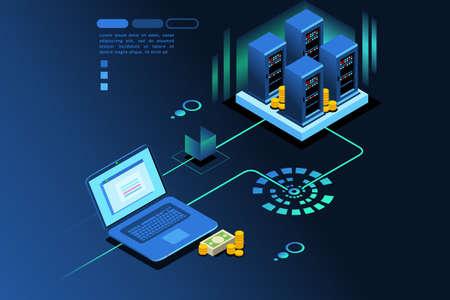 Illustration pour Storage station hardware to save user digital data. Database concept. Isometric icon. Vector graphic design. - image libre de droit