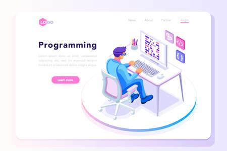 Illustration pour Programming concept design template - image libre de droit