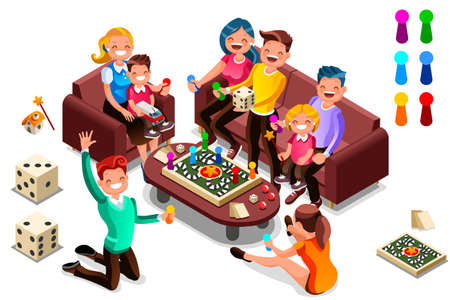 Illustration for Adults leisure, board games isometric people activity. Cartoon illustration for web banner, infographics, hero images. Flat isometric characters, vector illustration isolated on white background. - Royalty Free Image