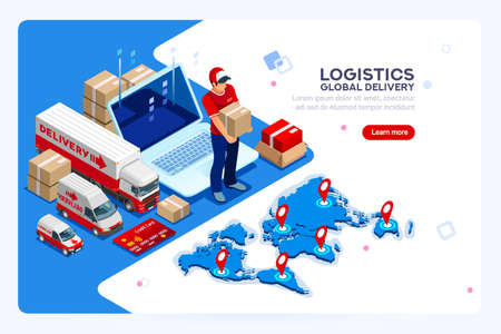 Illustration pour Industry of shipment, web delivery and parcel concept. Carry man, free courier and express delivery. Infographics with worker boy for web banner or hero images. Isometric people vector illustration. - image libre de droit
