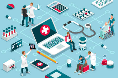 Ilustración de Treatment, clinic assistance on medicine services. Patient concept and clinic diagnosis. Patient assistance with healthcare technology. Infographics, banner. Flat images, vector illustration. - Imagen libre de derechos